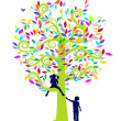 Stock Vector: Color tree and children