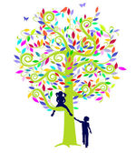 Color tree and children — Stock Vector