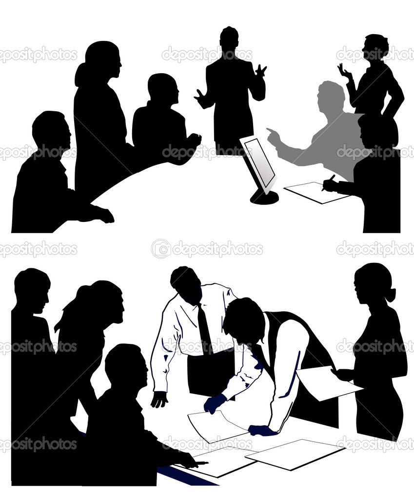 Meeting giving a presentation. — Stock Vector #3641107