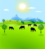 Cow paddock mountain pasture — Stock Vector