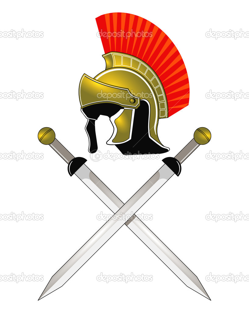 Roman helmet and swords stock illustration