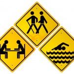 Trekking, swimmer, relax sign — Stock Vector