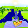 Stock Vector: family picnic
