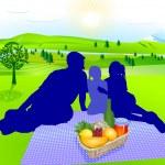 Family picnic — Stock Vector