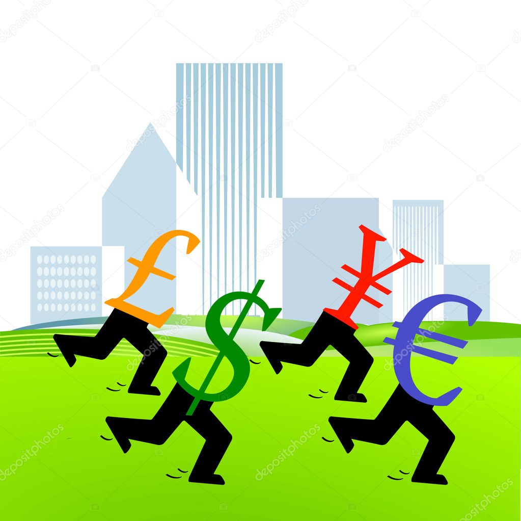 Currency footrace — Stock Vector #3710546