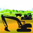 Excavator and bulldozer — Stock Vector