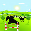 Horseback riding and show jumping — Stock Vector