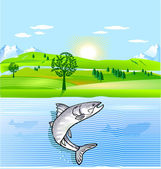 Nature conservation and fish — Stock Vector