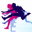 Hurdle race women — Stock Vector