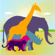 African animal kingdom — Vector de stock