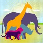 African animal kingdom — Stock Vector