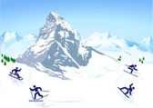 Winter sports in the mountains — Stock Vector