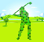 Golf Player green scores — Stock Vector