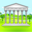 Temple and free landscape — Stock Vector