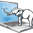 Elephant total recall — Stockvektor