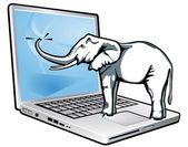 Elephant total recall — Stock Vector