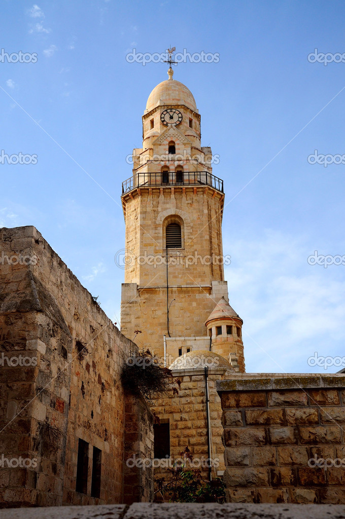 Bell tower church the Apostle Peter and singing the cock Jerusalem  Stock Photo #2973007