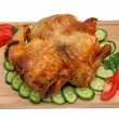 Roasted chicken on plate isolated — Stock Photo