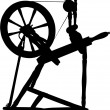 Antique Spinning Wheel - Stock Vector