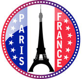 Paris and Eiffel tower button — Stock Vector