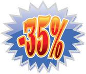 35% discount label — Stock Vector