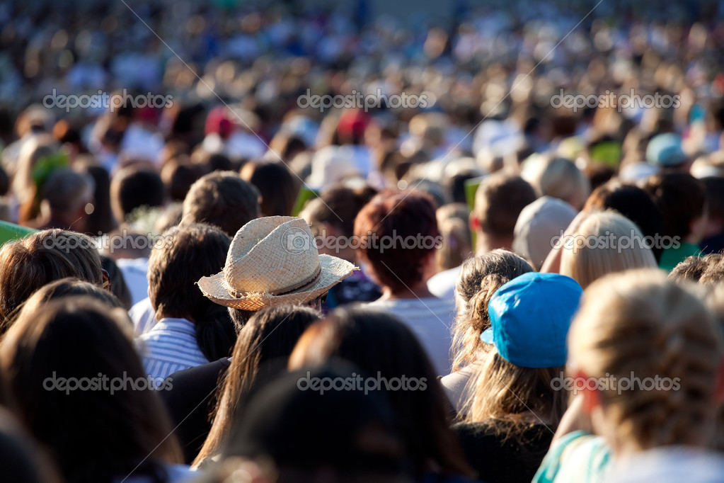 Large crowd of watching concert or sport event — Stock Photo #3578659
