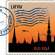 Stock Vector: Postmark from Latvia