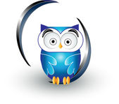 Cute blue owl — Stockvector