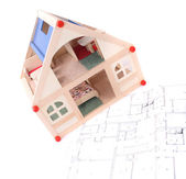 Toy house and plans — Stock Photo