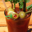 Bloody Mary with Olives and Celery - Stock Photo