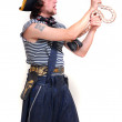 Stock Photo: Pirate with snake in hands