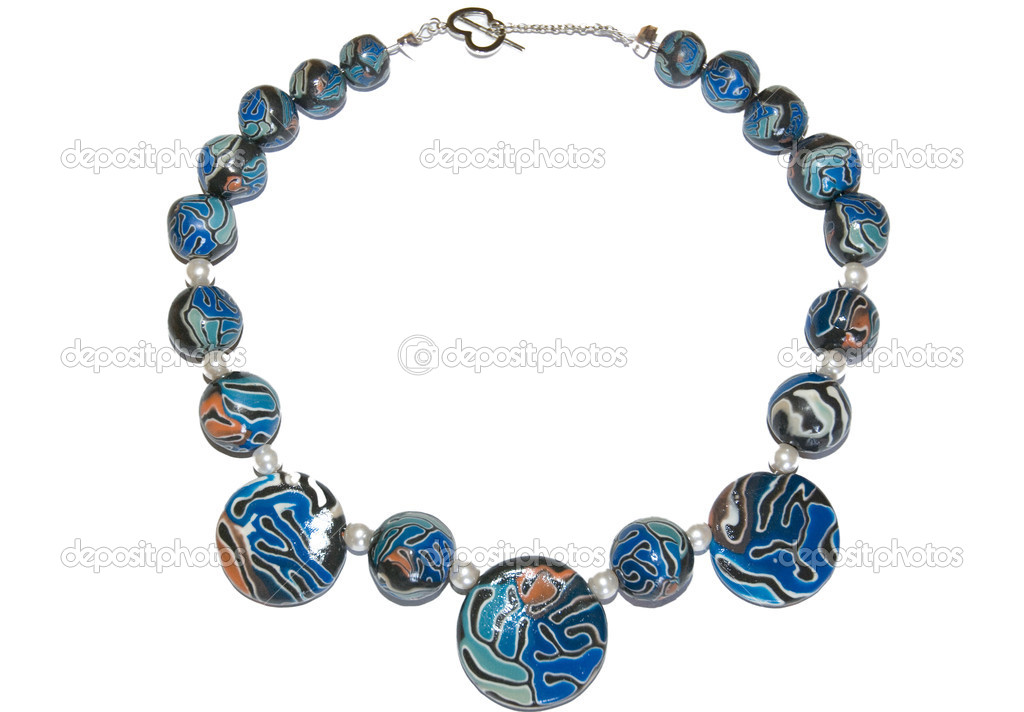 Blue chaplet from polymer clay — Stock Photo #3196888