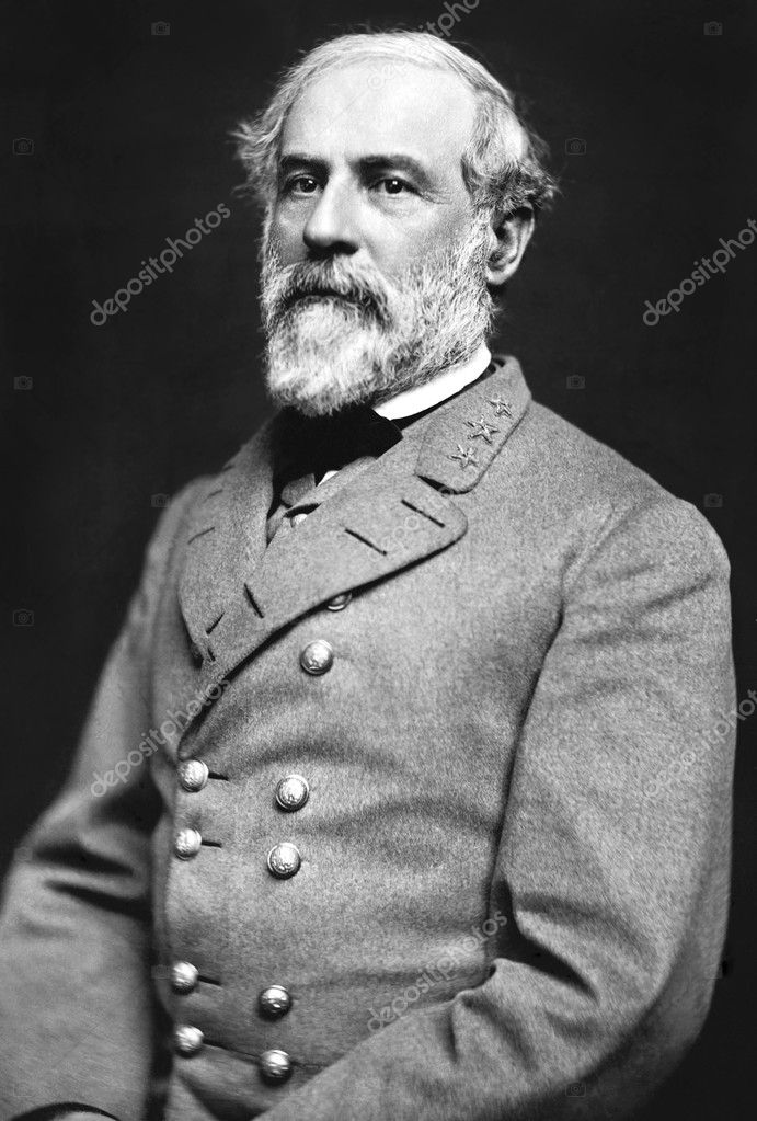 Portrait of Gen. Robert E. Lee, officer of the Confederate Army. Dated 1863, photo was taken by Julian Vannerson. Sourced from Library of Congress Prints and Ph — Stock Photo #3838461
