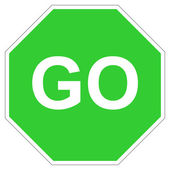 Green go sign — Stock Photo