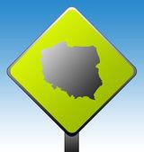Cartello stradale polonia — Foto Stock