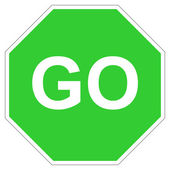 Green go sign — 图库照片