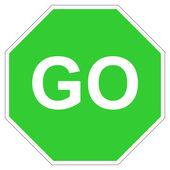 去的绿色标志 — 图库照片