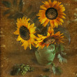 Sunflowers in a vase, a still-life. - ストック写真