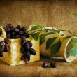 Grapes in a basket, a still-life. - Stock Photo