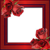 Red roses on a red framework for photos. — Stock Photo
