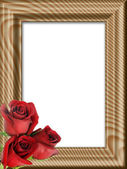 Red roses on a wooden framework — Stock Photo