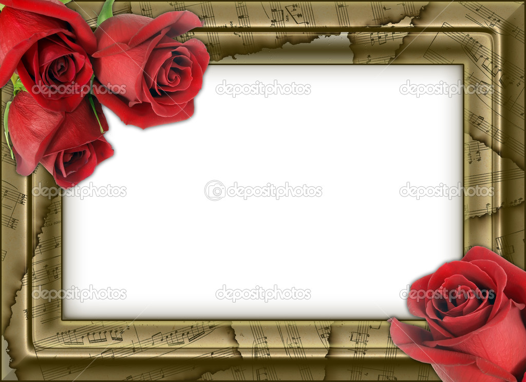 Framework for photos with musical notes and roses. — Stock Photo #2951998