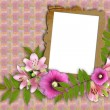 Frame and floral beautiful bouquet - Stock Photo