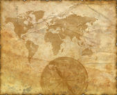 Ancient map of the world. Compass — Zdjęcie stockowe