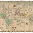 Stock Photo: Ancient map of the world.