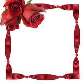 Rote rosen auf rahmen aus — Stockfoto
