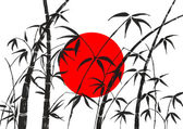 Flag of Japan and bamboo — Stock Photo