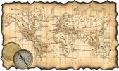 древняя карта мира. компас — Стоковое фото