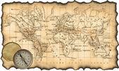 Gammal karta av världen. kompass — Stockfoto