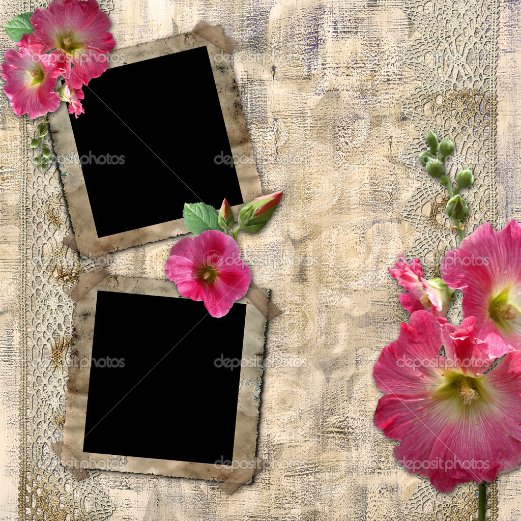 Vintage background with frames for photos and flowers — Stock Photo #3591356
